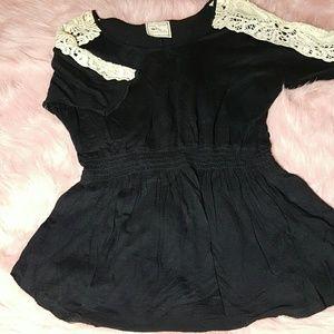 M Black Crocheted Shoulders